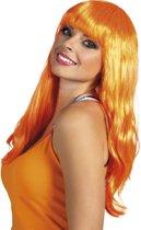 Pruik lang oranje