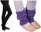 Ballet Beenwarmer Paars 8cm en Balletmaillot Zwart - Maat 98/110