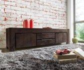Tv-meubel Blokk Acacia tabak 200 cm 2 deuren 2 laden massief hout