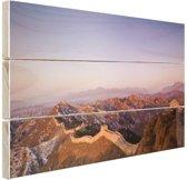 De Chinese Muur bij zonsopgang Hout 60x40 cm - Foto print op Hout (Wanddecoratie)