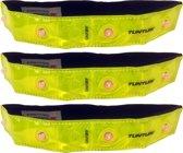 Tunturi Veiligheidsband - Hardloopverlichting - Hardloop armband - Hardloop lampjes - LED - 3-delig - Fluorgeel