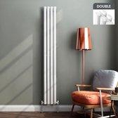 Dubbele Designradiator Ember Premium Verticaal Hoogglans Wit Ovaal - 180 x 24 cm