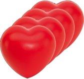 8x Stressballen rood hartjes 8 x 7 cm - Valentijn / liefde huwelijk geschenk cadeau artikelen - hartjes artikelen