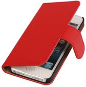 Rood Effen Apple iPhone 6 - Book Case Wallet Cover Hoesje