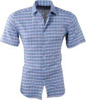 Pradz - Heren Korte Mouw Overhemd - Geblokt - Slim Fit - Grijs