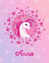 Anna: Unicorn Sheet Music Note Manuscript Notebook Paper - Magical Horse Personalized Letter K Initial Custom First Name Cov