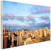 Wolkenkrabbers Sao Paulo Hout 80x60 cm - Foto print op Hout (Wanddecoratie)