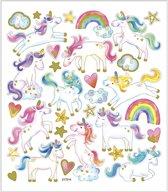 Stickers, vel 15x16,5 cm, circa 31 stuk, eenhoorn, 1vel