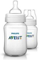 Philips Avent Classic SCF683/27 - Babyflessen (260 ml) met speen voor langzame toevoer 0m+ - 2 stuks