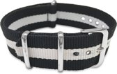 Max Horlogeband 5 NTS024 Nato Horlogeband - 20 mm - Zwart / Wit / Zilverkleurig