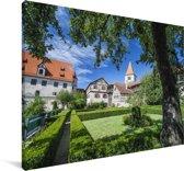 Groene tuinen in de Duitse stad Augsburg Canvas 180x120 cm - Foto print op Canvas schilderij (Wanddecoratie woonkamer / slaapkamer) / Europese steden Canvas Schilderijen XXL / Groot formaat!