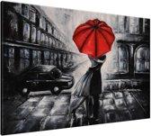 Schilderij handgeschilderd Liefde | Rood , Zwart , Grijs | 120x70cm 1Luik