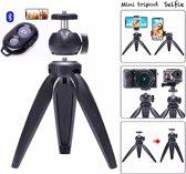 Mini-statief Camerastatief voor fotocamera en telefoon - iPhone - Canon – Nikon - GoPro  - Spiegelreflexcamera Inclusief telefoonhouder + Bluetooth shutter - Zwart - Eff Pro