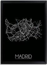 DesignClaud Madrid Plattegrond poster Zwart A4 + Fotolijst zwart