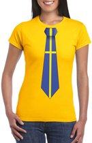 Geel t-shirt met Zweden vlag stropdas dames XL