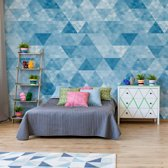 Fotobehang Modern Geometric Triangle Design Blue   V8 - 368cm x 254cm   130gr/m2 Vlies