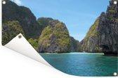 Het Aziatische strand in de Filipijnen van een afgelegen lagune in de Bacuit-archipel Tuinposter 60x40 cm - klein - Tuindoek / Buitencanvas / Schilderijen voor buiten (tuin decoratie)
