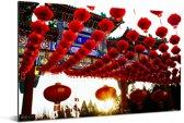 Rode lampionnen in Beijing Aluminium 180x120 cm - Foto print op Aluminium (metaal wanddecoratie) XXL / Groot formaat!