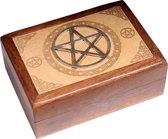 Houten doos met metalen Pentagram