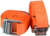 Premium Oranje Spanbanden van 3,5 M x 3 CM met Metalen Klem - 100 KG Limiet - 2 Stuks | Spanband voor Vastzetten | Sjorband | Sjorbanden | Afspanner | Afspanners | Bagagespin | Stormband