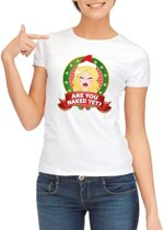 Foute Kerst shirt voor dames - Are You Naked Yet - wit S