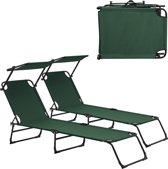 Ligbed - ligstoel met zonneluifel - 2stuks set - Donkergroen
