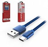 LDNIO LS60 Blauw 1 Meter USB C Kabel Snellader OplaadKabel - geschikt voor o.a Samsung Galaxy A3 A5 2017 A8 A9 2018 S9 Plus