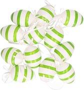 Groen/wit gestreepte hangdecoratie paaseieren 12 stuks