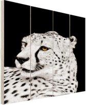 Luipaard zwart-wit  Hout 20x30 cm - klein - Foto print op Hout (Wanddecoratie)