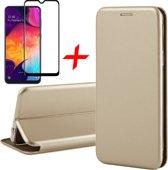 Samsung Galaxy A30s Hoesje + Screenprotector Full Screen - Book Case Flip Wallet - iCall - Goud