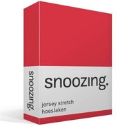 Snoozing Jersey Stretch - Hoeslaken - Eenpersoons - 90/100x200/220 cm - Rood