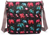 MISS LULU Canvas SCHOUDERTAS  ELEPHANT. Superhandig voor school/uni/werk!(L1104E BK)