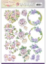Uitdrukvel  - Jeanine's Art - Vintage Bloemen - Romantisch Paars
