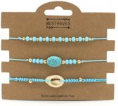 Armbanden set turquoise   3 delig