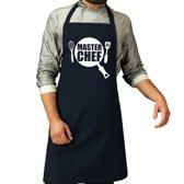 Master chef barbeque schort / keukenschort navy blauw voor heren - bbq schorten