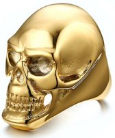 Stalen herenring Skull Gold-19mm