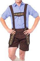 Voordelige Lederhose set | Lederhosen man met  Tiroler blouse | Blauw | Maat M