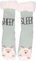 Blauwe dames huissokken schapen - 36-41 - antislip sokken
