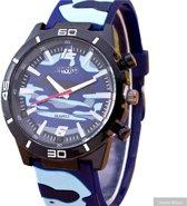Heren horloge- Blauw camouflage- siliconen- 44 mm