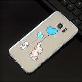 Samsung Galaxy S7 Siliconen hoesje olifantje, konijntje (blauwe ballon)