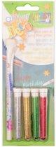 Glitter - Set 4x glitter + 1x glue-pen - 2 stuk