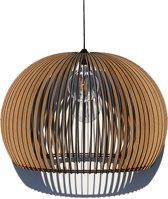 Houten design hanglamp, handgemaakt.