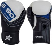 Leren bokshandschoenen Starpro S90   zwart-wit-blauw 12 oz