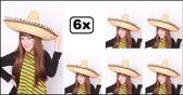 6x Sombrero luxe 55 cm met balletjes