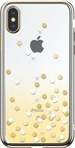 iPhone Xs MAX hoesje DEVIA Polka Crystal Series – Flexibel & stijlvol – GEEL, transparant & met kunststof kristallen