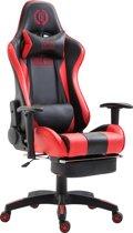 Clp Boavista - Racing bureaustoel - Kunstleer - zwart/rood met voetsteun