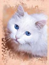 White Cat Composition Notebook, Graph Paper