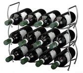 Wijnrek stapelbaar 3-delig voor 12 flessen