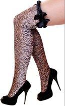 Overknee kousen met luipaard print