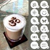 QBIX Koffie stencil - Cappuccino sjabloon - Herbruikbare barista stencil set - Cacao sjablonen - 12 stuks - Yoga, nature & good vibes